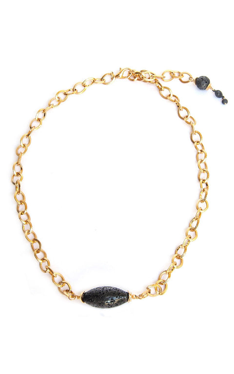 Maya Necklace - Vintage gold plated chain with oblong lava stone - versatile as necklace, choker or wrap bracelet - Simply Lava Collection