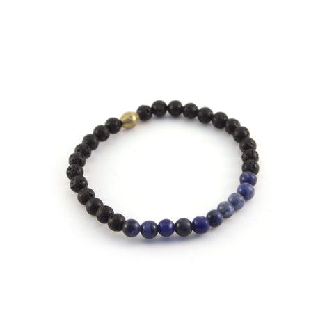 Men's Mission Bracelet - VISIONARY - lava rocks and sodalite gemstones to help you trust your instincts and promote inspiration and creativity