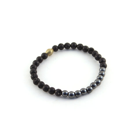 Men's Mission Bracelet - SAGE - lava rocks and Hematite gemstones to help clear confusion and create balance between mind and spirit