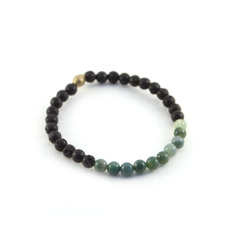 Men's Mission Bracelet - LOVER - lava rocks and aventurine gemstones to promote positivity and creates opportunity