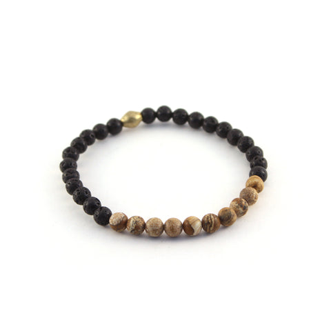 Men's Mission Bracelet - EXPLORER - lava rocks and Wood Jasper gemstones to stabilize your thoughts and connect you to Earth's energy flow