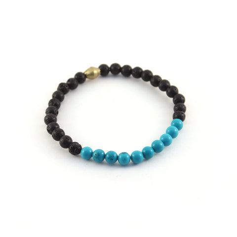 Men's Mission Bracelet - HEALER - Lava rocks and Turquoise Howlite to help reduce tension and anxiety as its curative power calms the energy around you