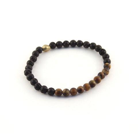 Men's mission bracelet - CHAMPION - lava beads with tiger eye gemstones to promote concentration and aid in personal development