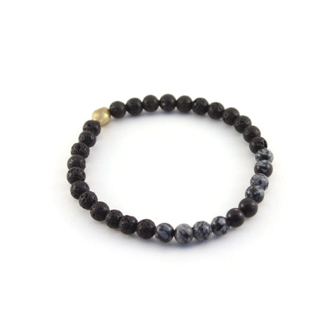 Men's Mission Bracelet - GUARDIAN - lava rocks and snowflake obsidian gemstones to provide protection for the mind and spirit to create balance
