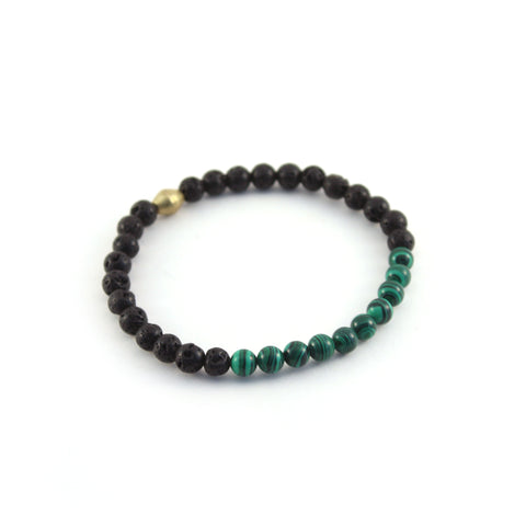 Men's Mission Bracelet - CREATOR - lava rocks and Malachite gemstones to promote spiritual and emotional growth while healing traumas of the past