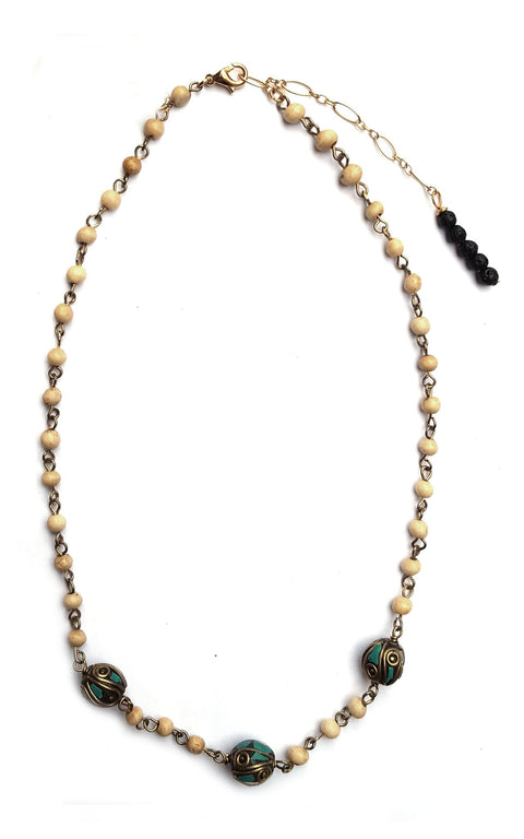 Mengwi Necklace - light sandalwood rosary chain with Tibetan beads - Gaia Collection