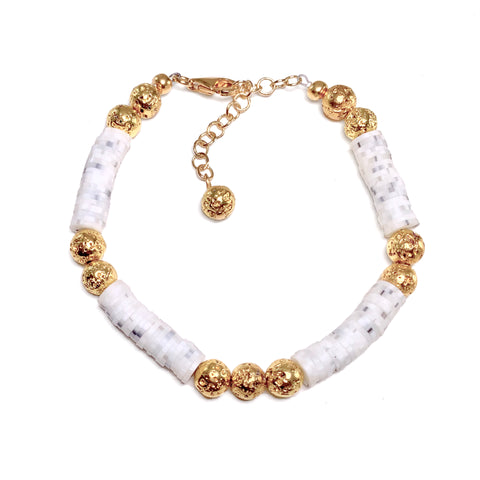 White marbled Heishi beads with gold luxe lava - Mila Bracelet - Viva Collection