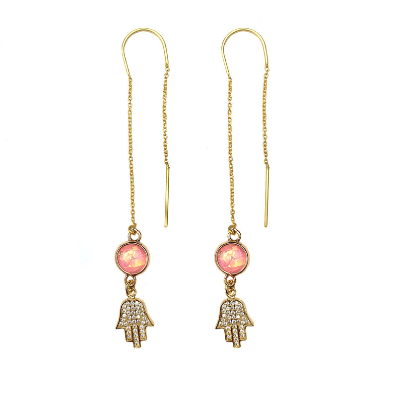 Rose Hopal and Hamsa Earrings-     MUSE COLLECTION - HotRocksJewels