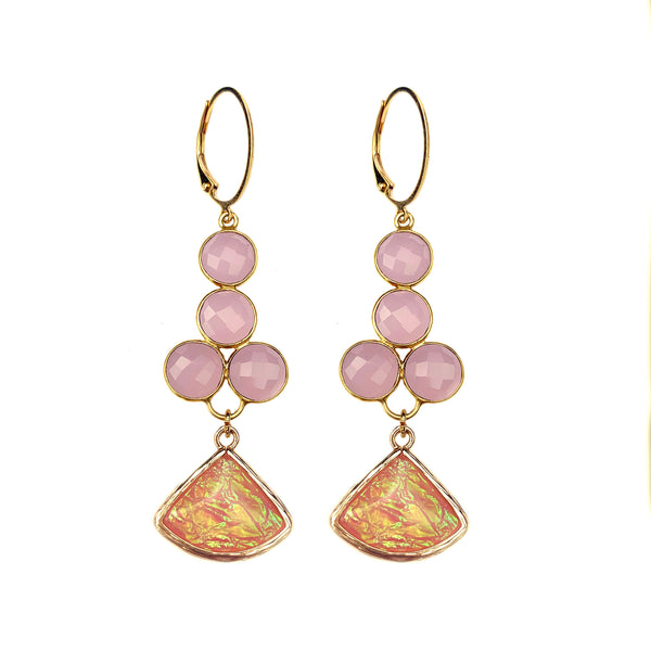 Rose Quartz and Fire Hopal Fan Earrings-     MUSE COLLECTION - HotRocksJewels