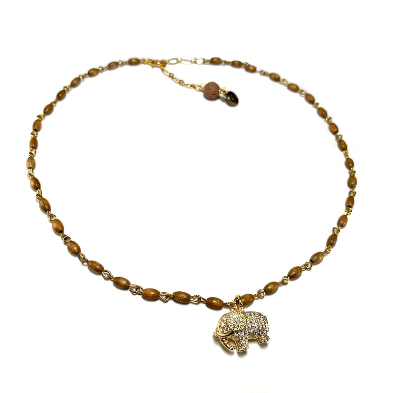 Elit Wood Charm Necklace-      MUSE COLLECTION - HotRocksJewels