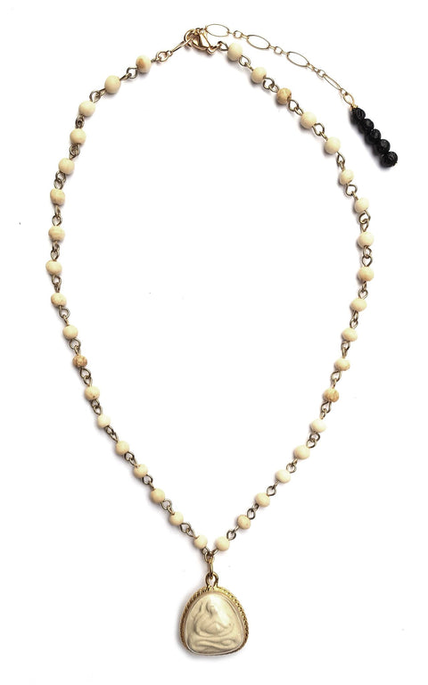 Niyama Necklace - light sandalwood rosary chain with yogi resin bubble - Gaia Collection