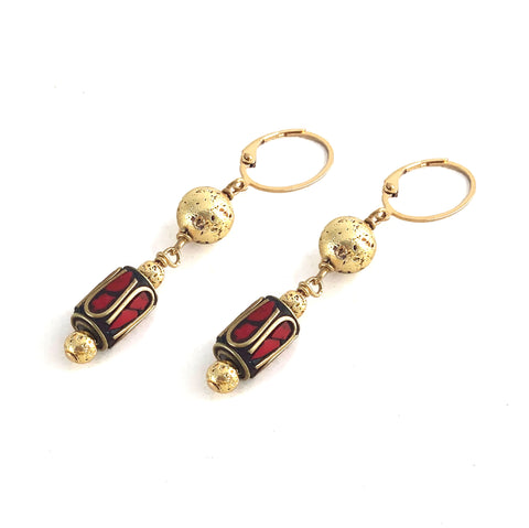 Norell Earrings - Elements Collection by Hot Rocks Jewels - Handmade Tibetan mosaic earrings with luxe lava