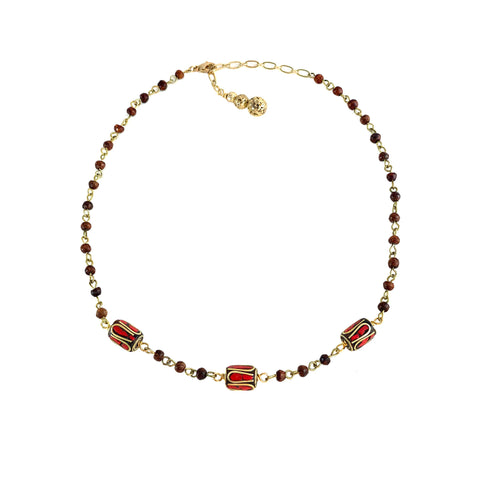 Nyssa Necklace - Hand tooled Tibetan beads with brass inlay on Sienna wood rosary chain