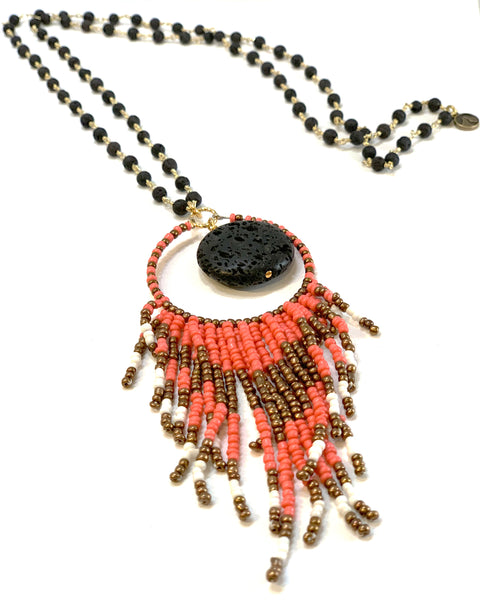Opus necklace - coral and bronze beaded tassel on lava rosary chain - Gaia Collection by hot rocks jewels