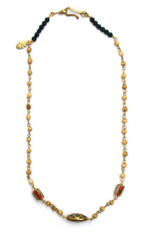 Padang Necklace - Light sandalwood rosary chain with Tibetan beads  - Gaia Collection