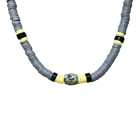 Parker Men's Necklace - Grey Heishi beads with Antique Turquoise and black Lava - The Viva Collection