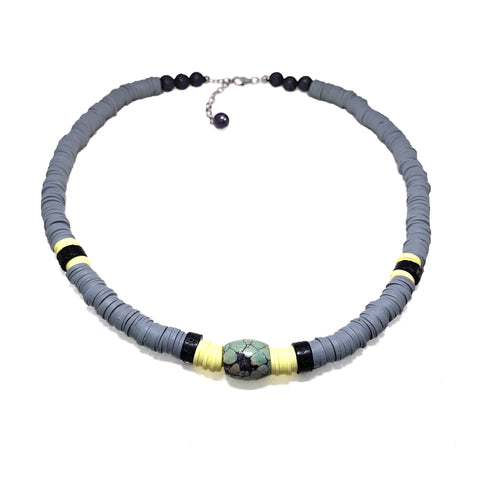 Grey Heishi beads with antique turquoise and black Lava - Parker Necklace - Viva Collection