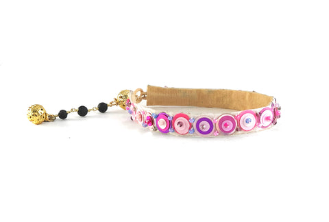 Lilac & multi colored sequin cuff bracelet with lava rosary extender chain