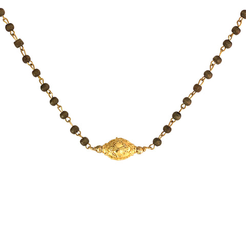 Embellished gold-tone bead dropped from taupe wood rosary chain