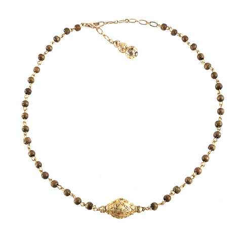 Rae Necklace - Embellished gold-tone bead dropped from taupe wood rosary chain