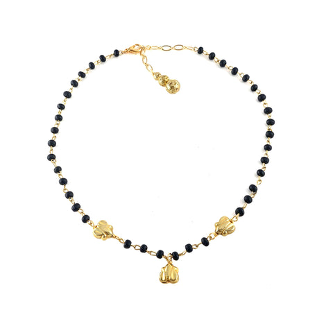 Rayna Necklace - Gold-tone butterfly charms on noir wood rosary chain