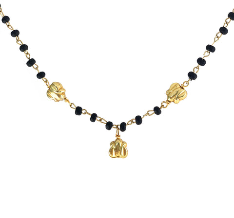 Noir wood rosary chain with gold-tone butterfly charms