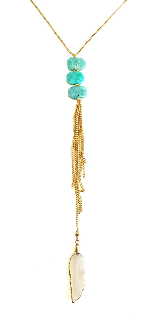 Roush Necklace with Amazonite gemstone tablets and frosted quartz feather dropped from fine gold tone chain tassel. Playa Collection