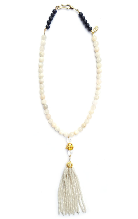 Sidd Necklace Mermaid Collection Moonstones with golden buddha and moon beaded tassel