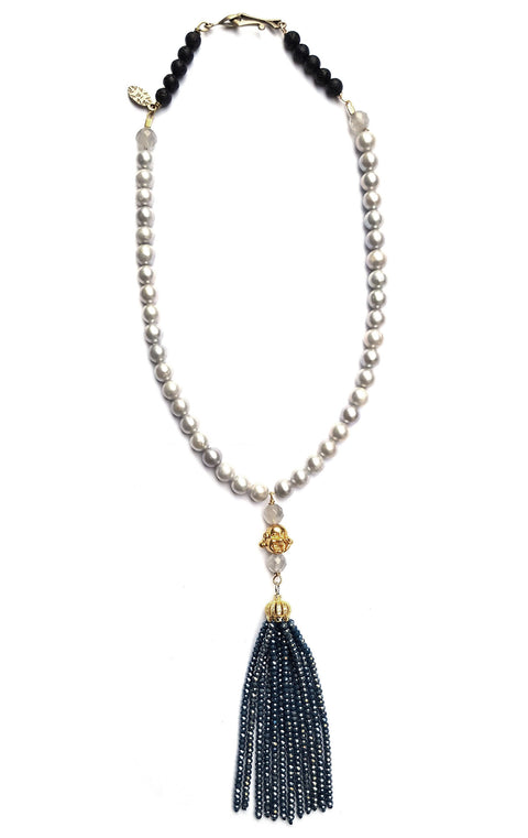 Sidd Necklace Mermaid Collection Pearls with golden buddha bead and grey beaded tassel
