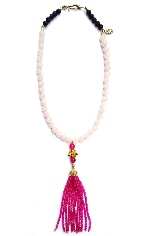 Sidd Necklace Mermaid Collection with Rose Quartz gemstones and golden buddha bead with beaded tassel
