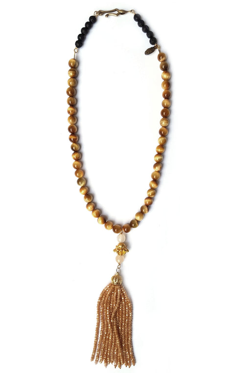 Sidd Necklace Mermaid Collection Tiger Eye gemstones with golden buddha bead and tiger beaded tassel