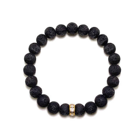 Black Simply Lava Bracelet with chic gold rhinestone rondelle - Hot Rocks Jewels