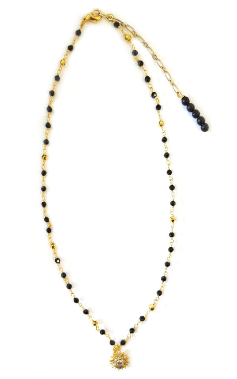 Soli Necklace - Black Spinel rosary chain with pave star pendant - Mini Collection Hot Rocks Jewels