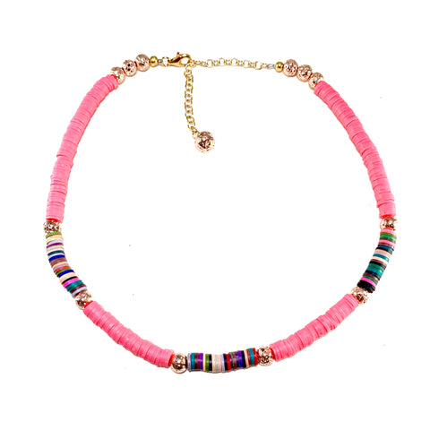 Hot pink heishi beads with multicolored accents and gold luxe lava  - Stella Necklace - Hot Rocks Jewels