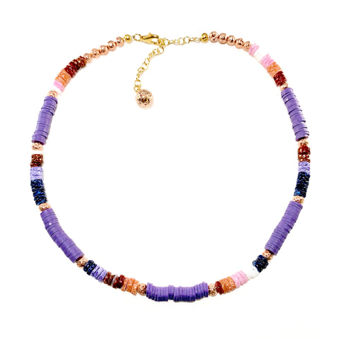 Purple and multicolored Heishi beads with rose gold luxe Lava - Stella Necklace - Hot Rocks Jewels