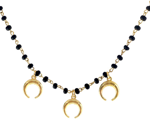 Gold tone horn charms on dark wood rosary chain Tate Necklace - Gaia Collection
