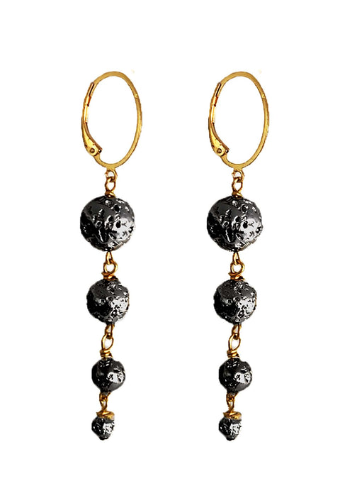 Simply Lava Collection - Astor Lava Earrings - Graduated Lava earrings in black