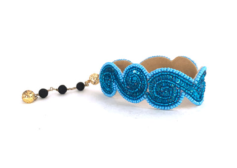 Beaded wave cuff with blue sequins and beads - playa collection hot rocks jewels
