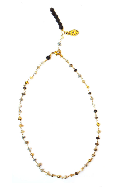 Yama Necklace - Delicate dendritic opal rosary chain with signature lava bar on extender chain - Hot Rocks Jewels Mini Collection