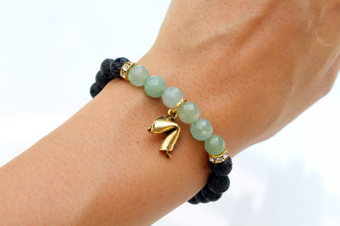 mantra bracelet with lava rock to diffuse aromatherapy oils and aventurine to promote good fortune and motivation - Hot Rocks Jewels