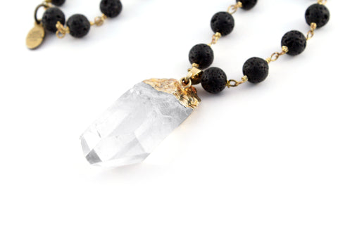Beautiful quartz crystal aromatherapy necklace. Diffuse your favorite essential oils with natural lava rock rosary chain