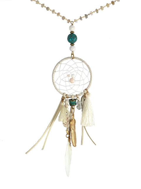 Dreamcatcher necklace with labradorite rosary chain, antique turquoise and cream lava - Playa collection - heat up your festival look