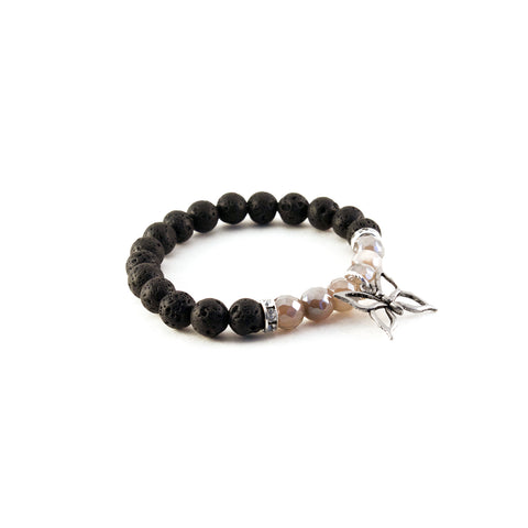 "Mantra ""I am free"" bracelet with black lava to diffuse aromatherapy oil and mystic agate for uplifting and harmonizing - Hot Rocks Jewels"