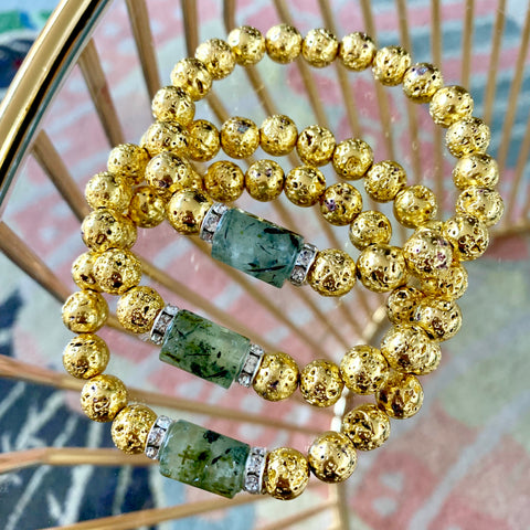 Fiona Bracelet - Prehnite stone with rhinestone rondells and gold lava - Luxe Lava Collection