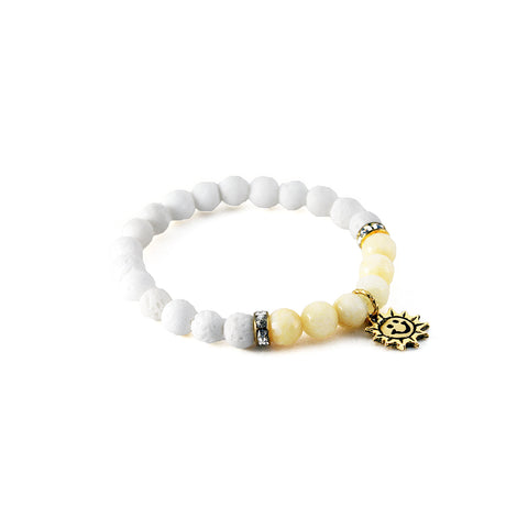 "Mantra ""I am happy"" bracelet with white lava to diffuse aromatherapy oil and yellow jade to boost energy and foster joy - Hot Rocks Jewels"