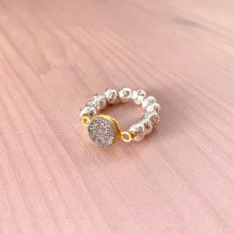 Silver Luxe Lava ring with grey druzy - HOT ROCKS JEWELS