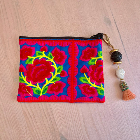 Red embroidered flower pouch with removable Lava tassel and druzy - HOT ROCKS JEWELS