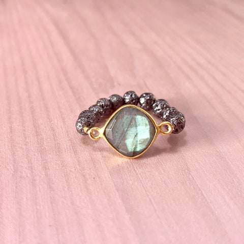 Gunmetal luxe Lava ring with labradorite - HOT ROCKS JEWELS