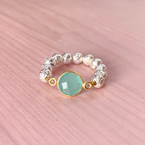 Silver Luxe Lava ring with aqua gemstone - HOT ROCKS JEWELS