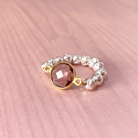 Silver Luxe lava ring with pink gemstone - HOT ROCKS JEWELS